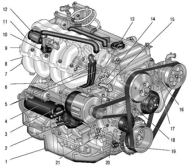 Двигатель ЗМЗ-409 (вид справа)