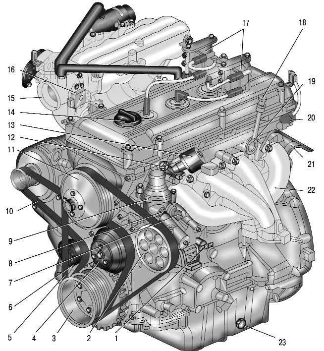 Двигатель ЗМЗ-409 (вид слева)